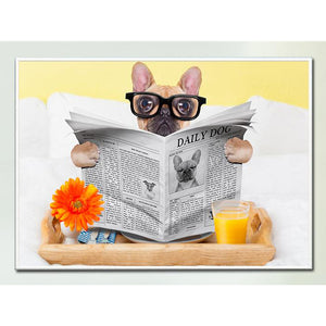 French Bulldog Reading Newspaper Canvas Print Decoration Home Decor Wall Art