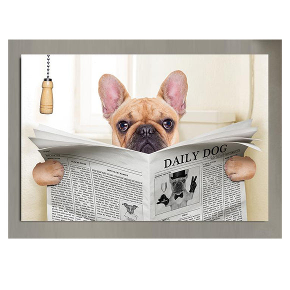 French Bulldog Reading Newspaper Canvas Print Bathroom Decoration Home Decor Wall Art