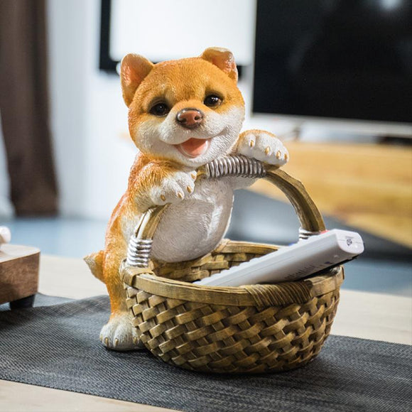 Resin Shiba Sculpture with Storage Basket