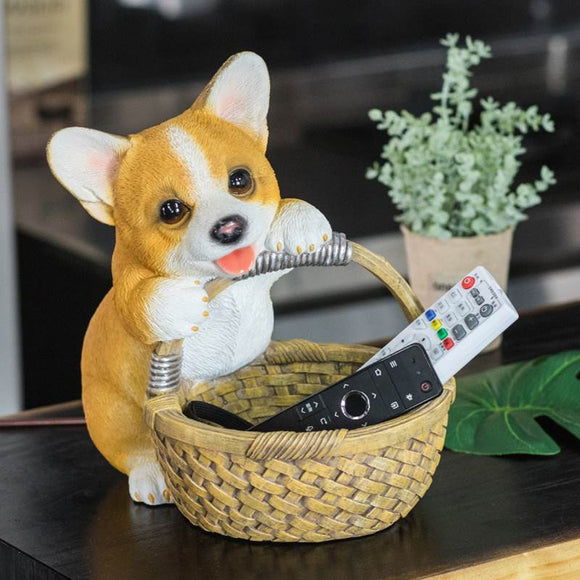 Resin Corgi Sculpture with Storage Basket