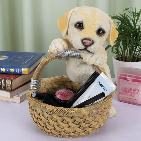 Resin Labrador Sculpture with Storage Basket