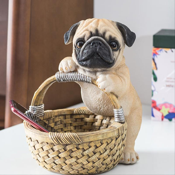 Resin Pug Sculpture with Storage Basket