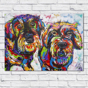 Wire-Hair Dachshunds Canvas Print Home Decor Living Room Painting