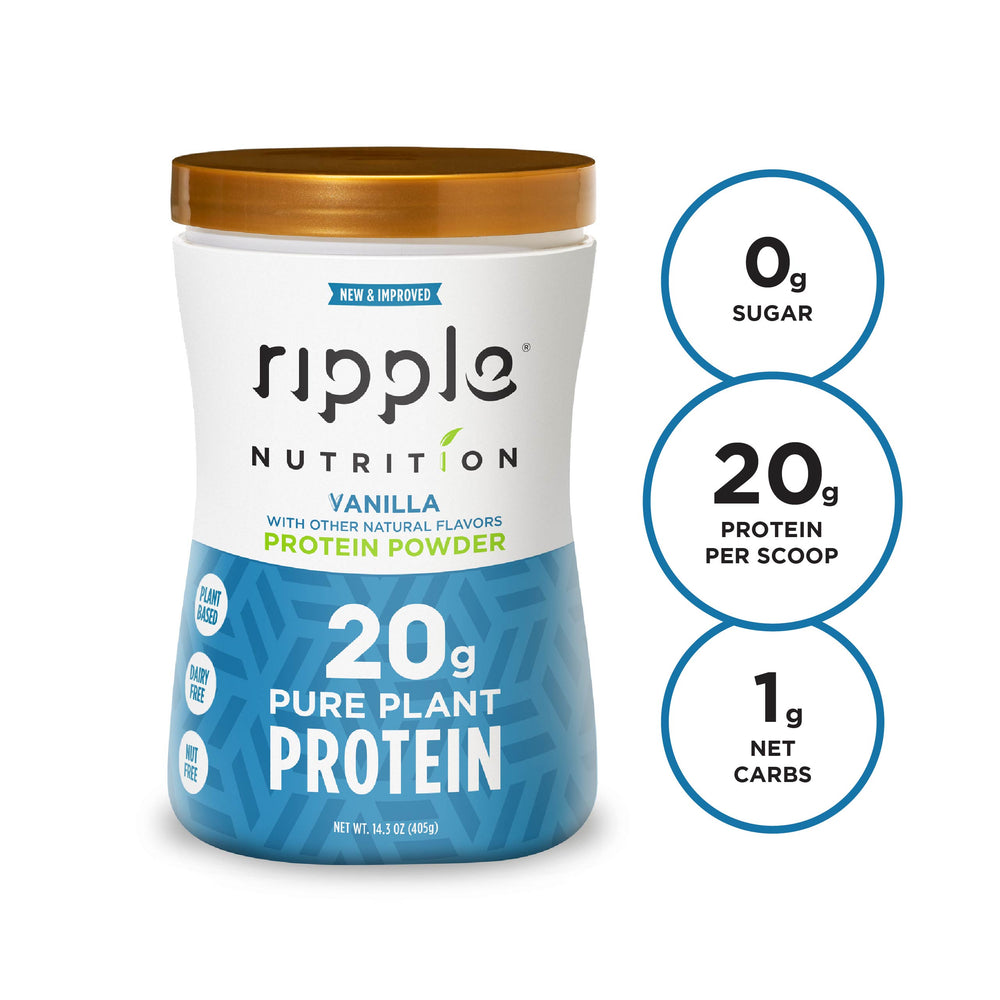 Ripple Nutrition Vanilla Plant-Based Protein Powder (4 pack)