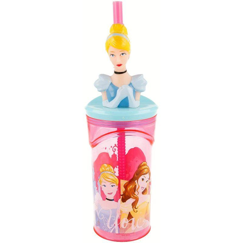 Cinderella Princess 3D Face tumbler with straw - www.entertainmentstore.in