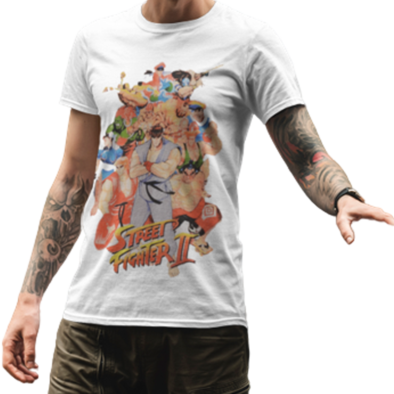 Street Fighter (1037) White Mens T Shirt - www.entertainmentstore.in
