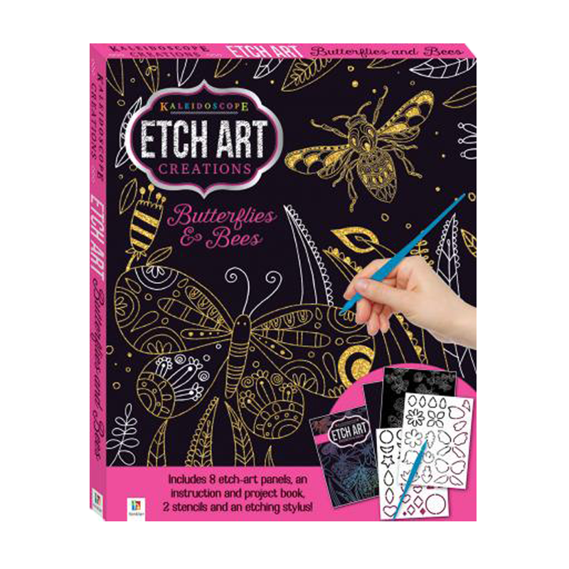 Kaleidoscope Butterflies and Bees Etch Art Mini Kit