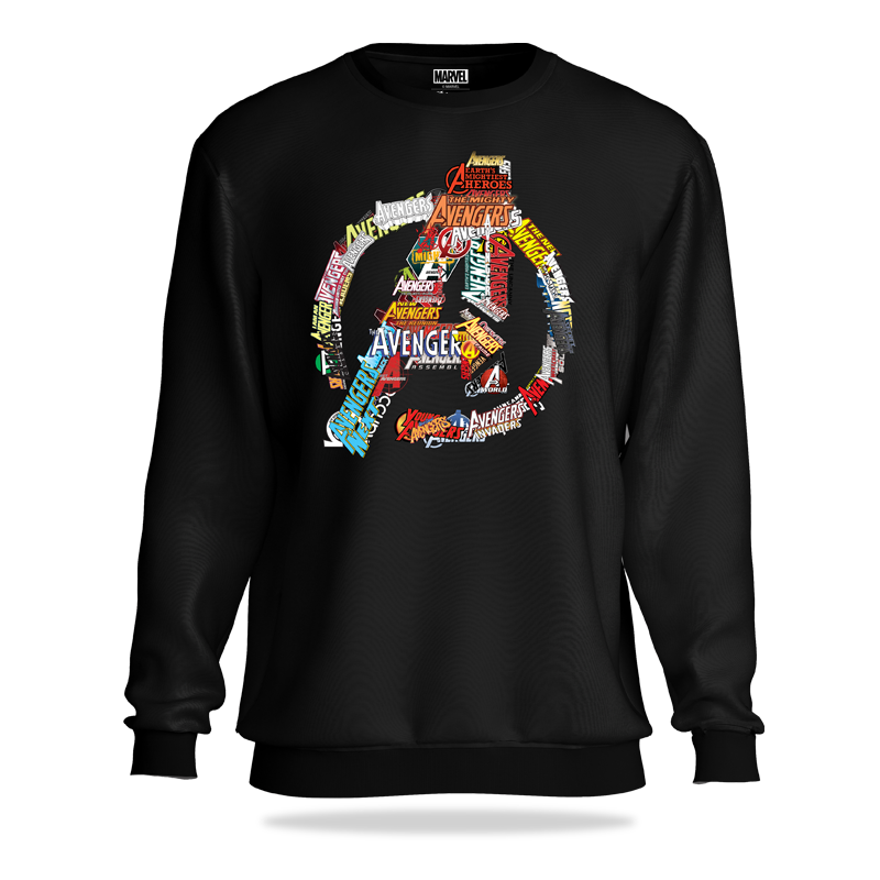 Avengers Comic Title  Black Sweatshirt - www.entertainmentstore.in
