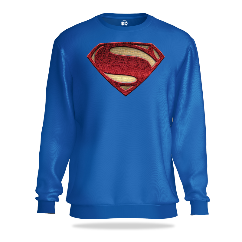 Superman Man Of Steel Blue Sweatshirt - www.entertainmentstore.in