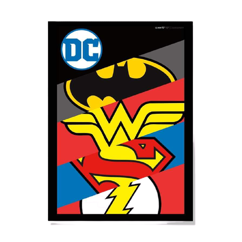 DC Logos Framed Poster - www.entertainmentstore.in