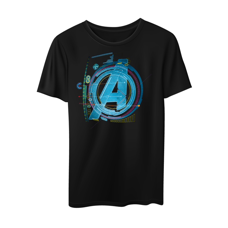 Avengers A Tech Screen logo Black T Shirt - www.entertainmentstore.in