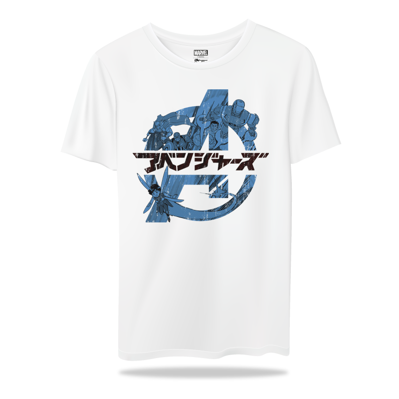 Avengers Japanese Text WhiteT Shirts - www.entertainmentstore.in
