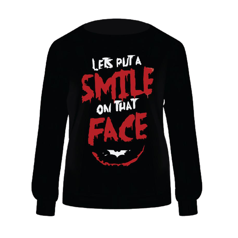 Joker Lets Put a Smile on that Face Black Sweatshirt - www.entertainmentstore.in