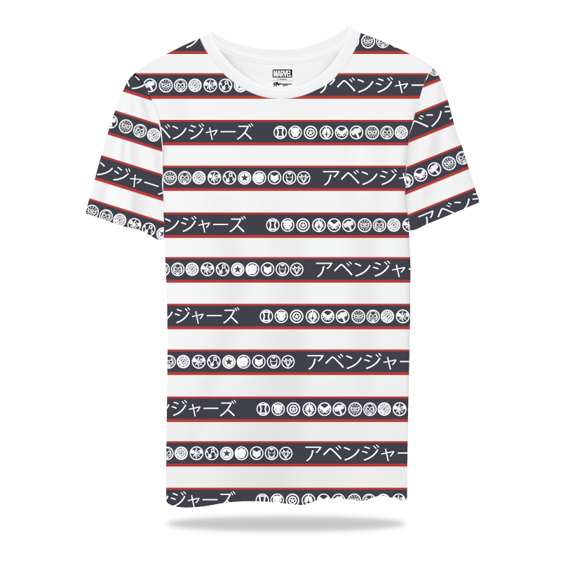 Avengers Heros Stripes WhiteT Shirts - www.entertainmentstore.in