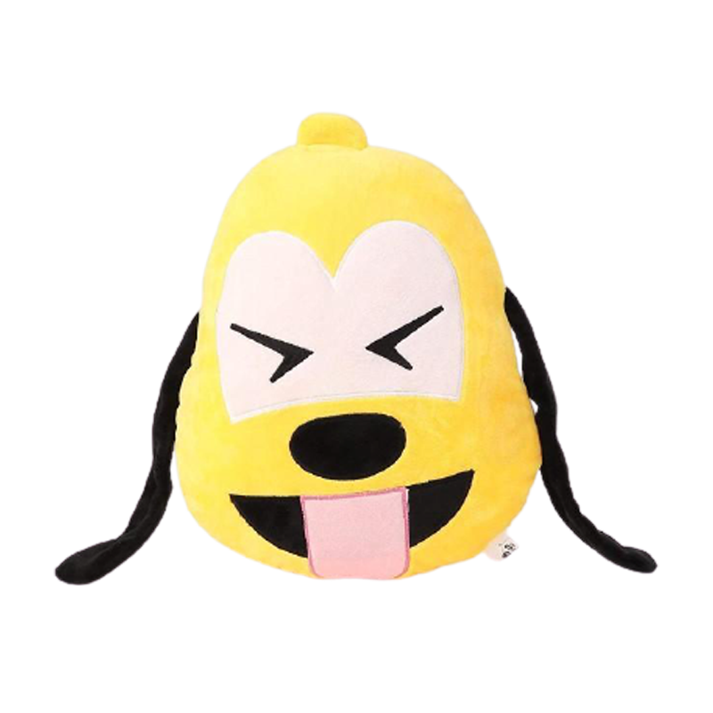 Tongue Out Pluto with Tightly Closed Eyes Emoji Face Plush Toy