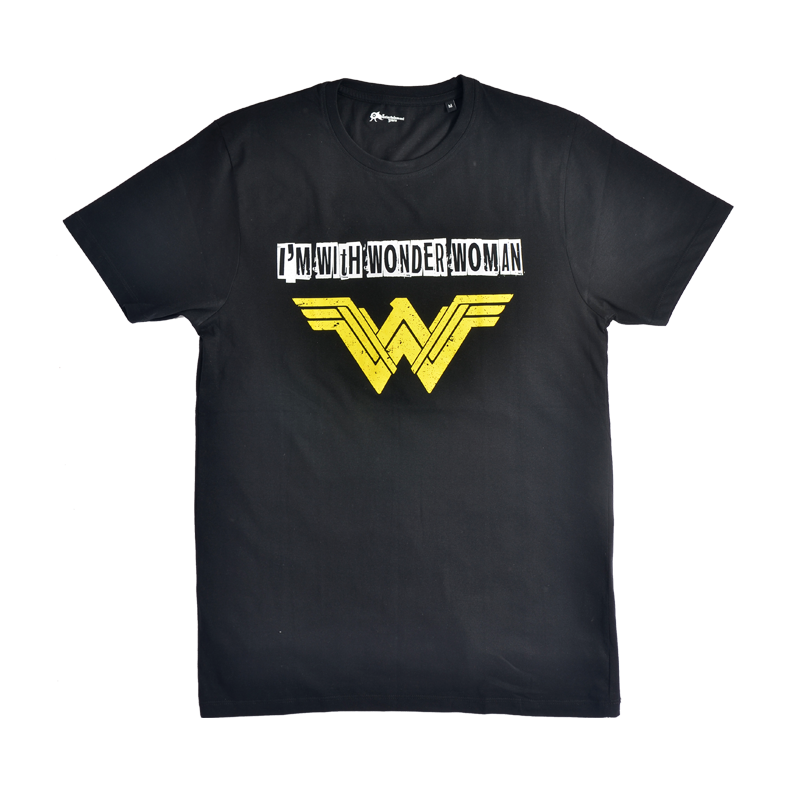 Im With Wonder Woman Black Mens T Shirt - www.entertainmentstore.in