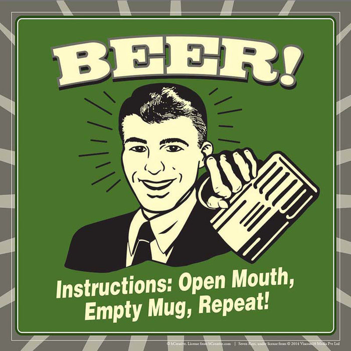 Bcreative Beer Instructions Open Mouth Empty Mug Repeat Poster