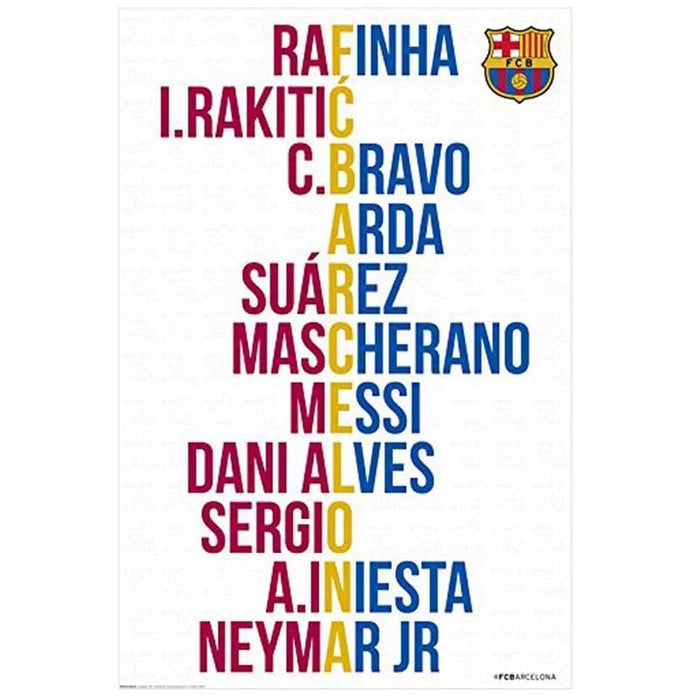 Gs 25 F.C. Barcelona Player Names Maxi Poster