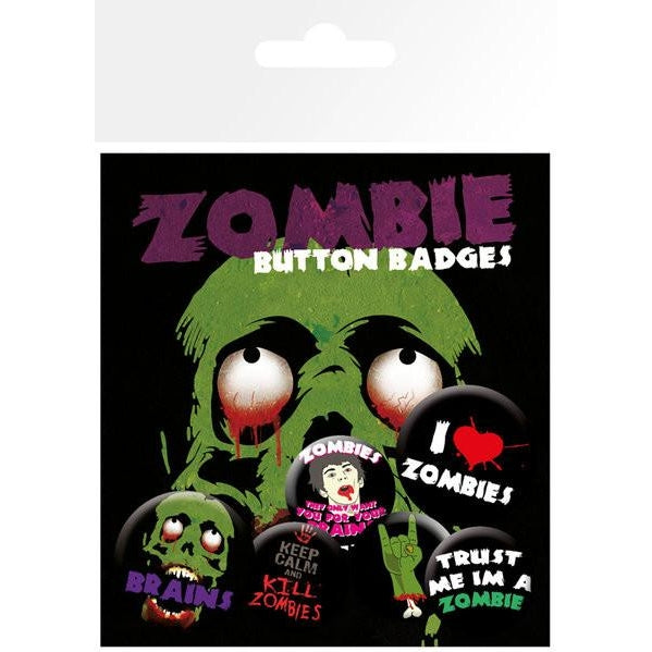 Zombie I Love Badge Pack