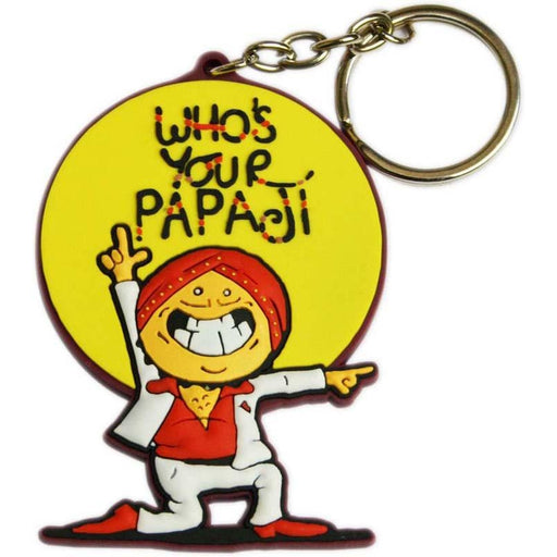 Whos Your Papaji Yellow Keychain