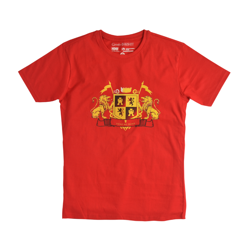 House Lannister Crest Game of Thrones Red Mens T Shirt - www.entertainmentstore.in