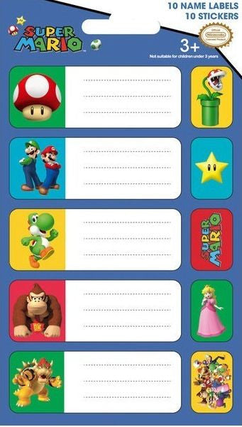 Nintendo Characters S.O.S Sticker Labels