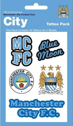 Manchester City Crests Tattoo Pack - www.entertainmentstore.in
