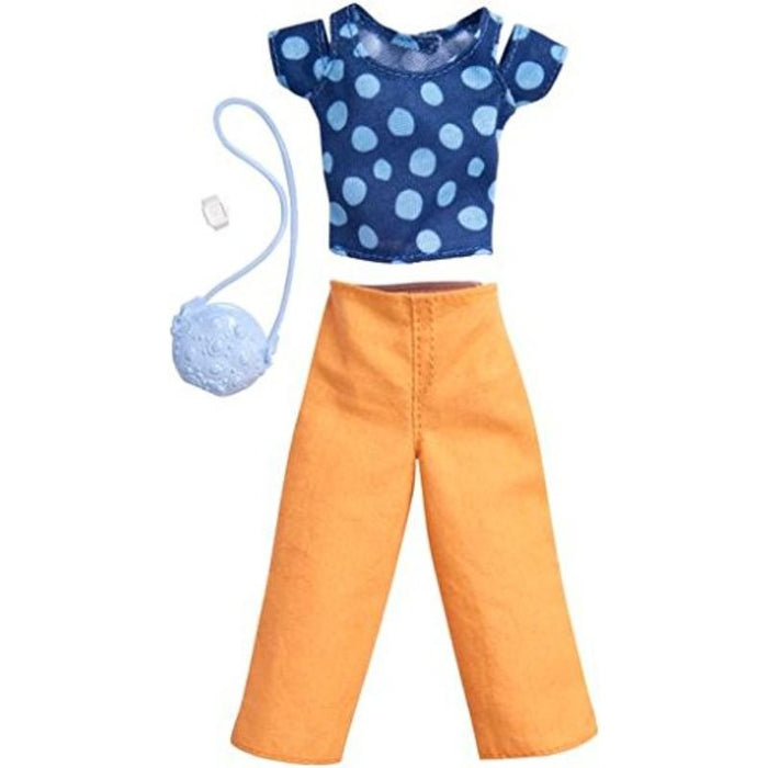 Barbie Fashions Complete Look Blue Polka Dot Top and Peach Pants Set