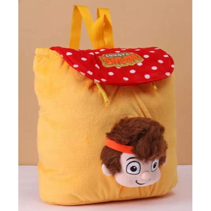 Chhota Bheem Kung Fu Dhamaka Bheem 3D Face Plush Bag Yellow
