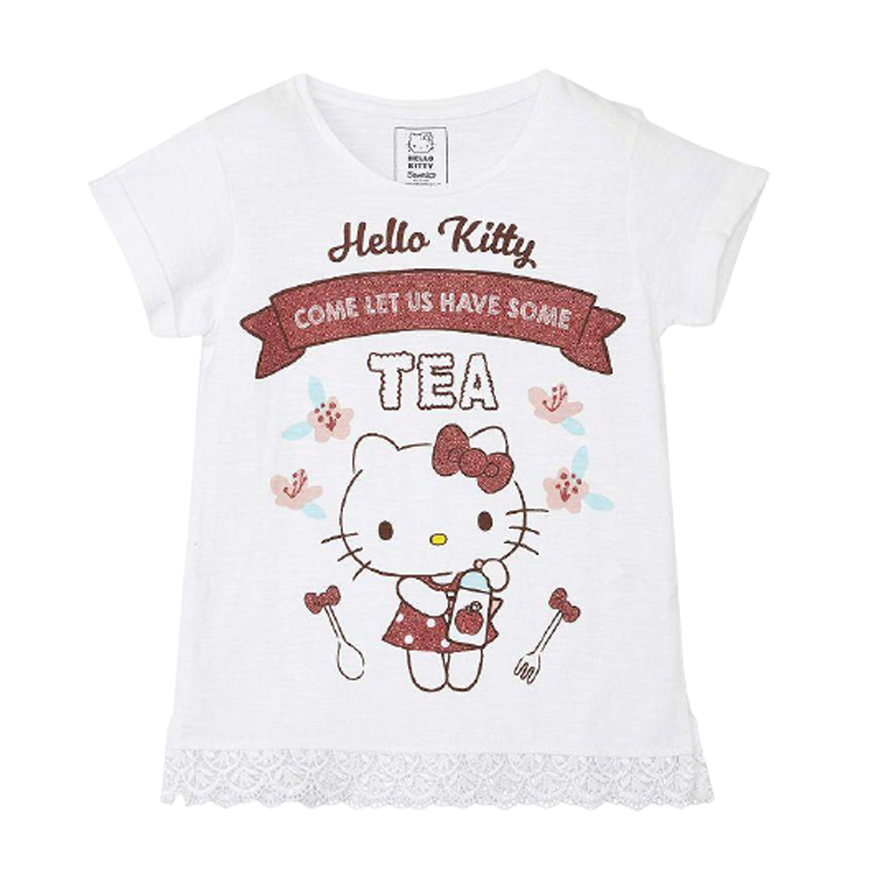 Hello Kitty (350) White Girls T Shirt - www.entertainmentstore.in