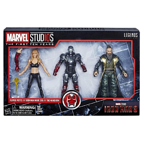 Marvel Studios The First Ten Years Iron Man 3 Pepper Potts, Iron Man Mark XXII, and The Mandarin Action Figures - www.entertainmentstore.in