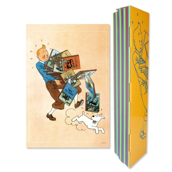 Tintin Carrying Books Poster