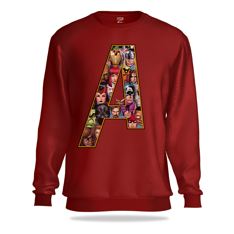 Avengers Comic Heroes Dark Maroon Sweatshirt - www.entertainmentstore.in