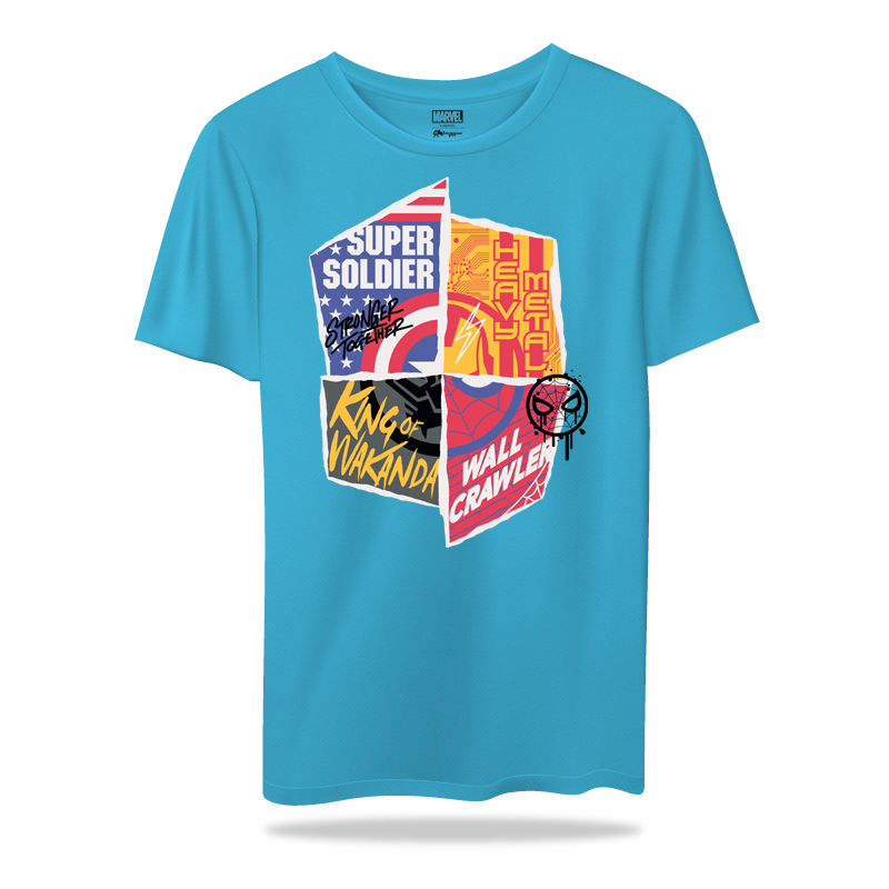 Avengers Heroes Sky Blue  T Shirt - www.entertainmentstore.in