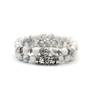 Silver Plated Buddha Head Charm Natural Stone Beads Bracelet