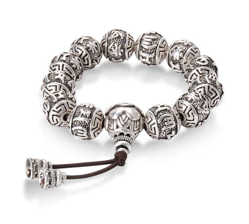 Tibetan Buddhism Brass Silver Plated Charm Rope Bracelet