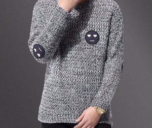 Gray Sweater Smiling Face Patch Casual Sweater