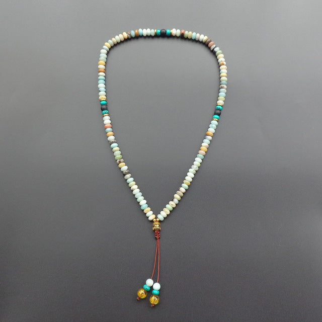 108 Stone Beads with Buddha Head Mala Necklace