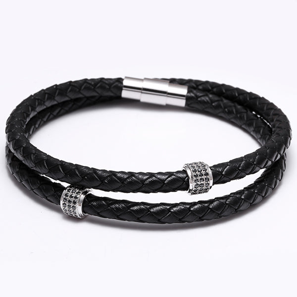 Bracelets Stainless Steel Black Leather Bracelet Double Layer