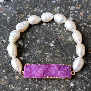 Natural Crystal Pendant & Shell Bead Bracelet (Women)