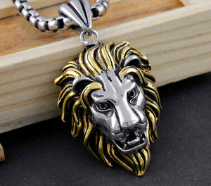 Silver And Gold Stainless Steel Lion Head