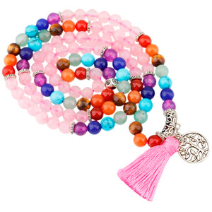 Pink Crystal Quartz 7 Chakra 108 Mala Beads Prayer Stones Bracelet Necklace