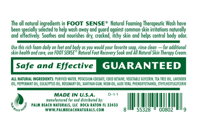 FOOT SENSE Natural Foaming Wash - HELPS WASH AWAY FOOT AND BODY ODOR
