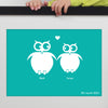 Personalised Special Date Print With Two Loving Owls WA106
