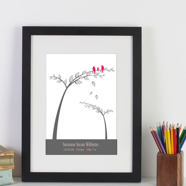 Personalised Birthdate Of Baby Bird In Leaning Tree WA110