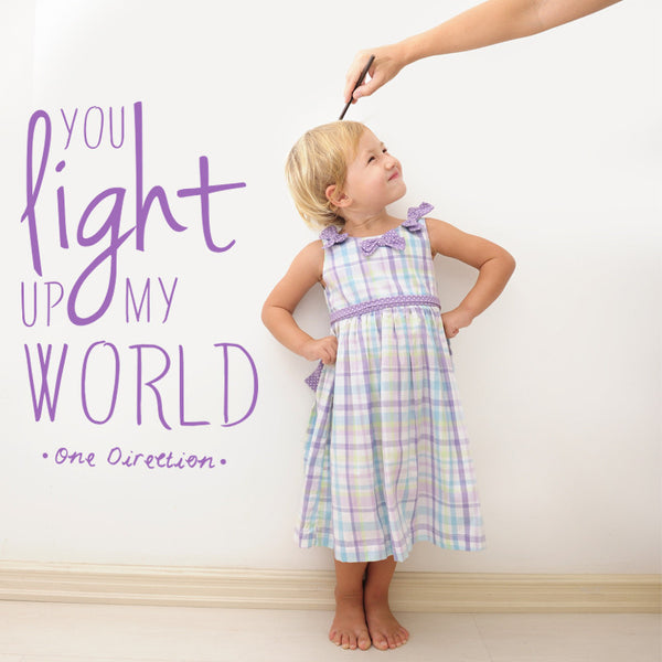 'You Light Up My World Two' Wall Sticker J28