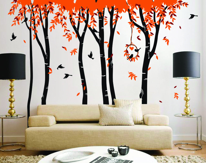 6 Woodland Trees And Birds Decal Vinyl Wall Sticker