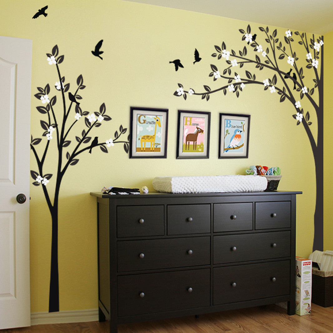 Trees With Flying Birds Decal Vinyl Wall Sticker