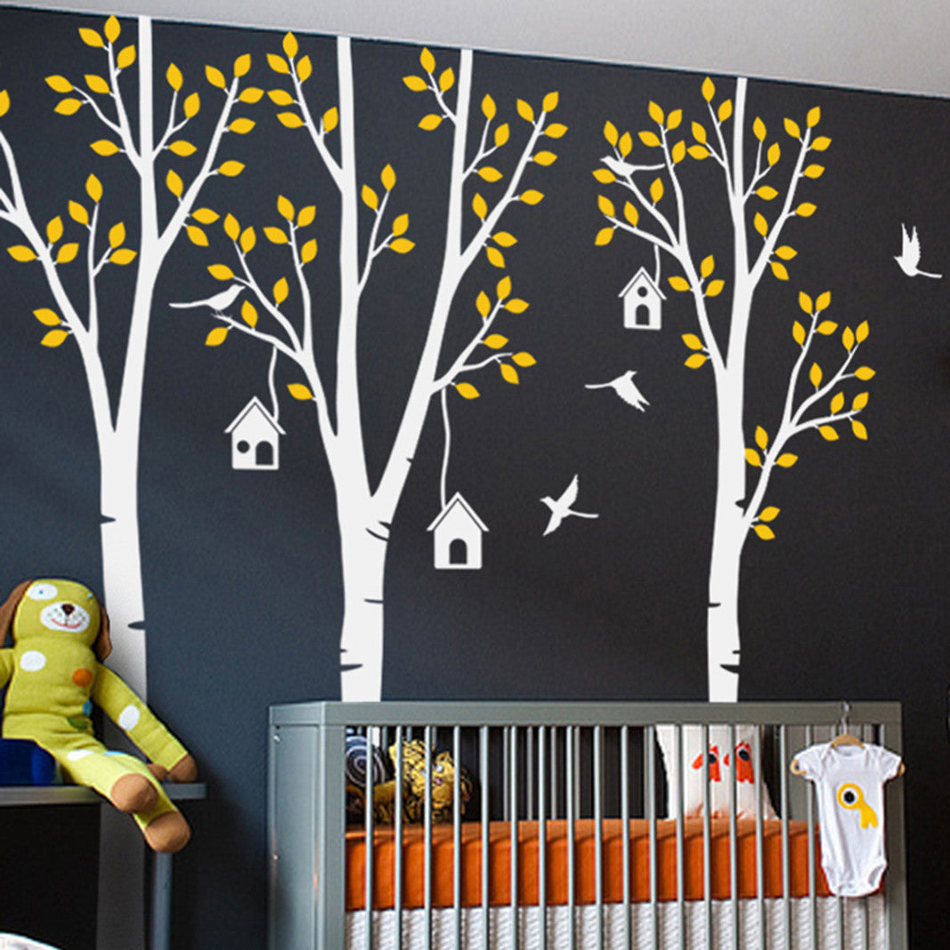 3 Trees with Bird and Birdhouses Decal Vinyl Wall Sticker