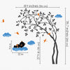 Swaying Tree with a Sleeping Bear Decal Vinyl Wall Sticker